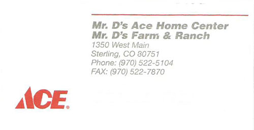 Mr. D's Ace Hardware Logo