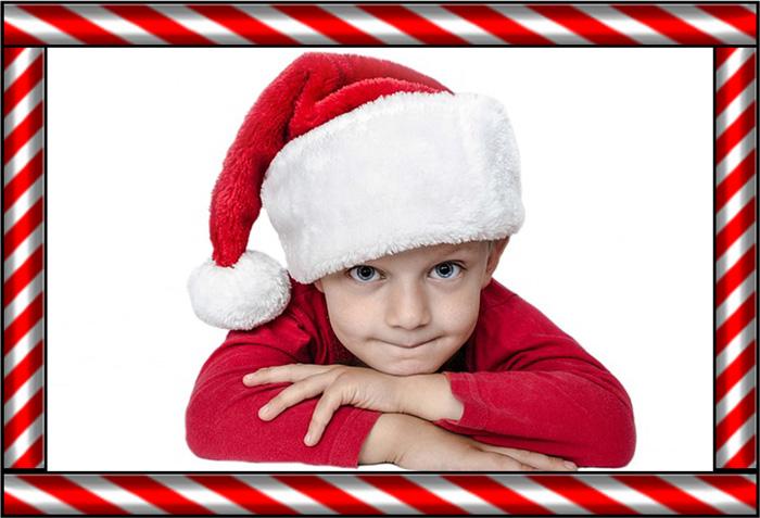Santa-Boy-Candy-Cane-Border